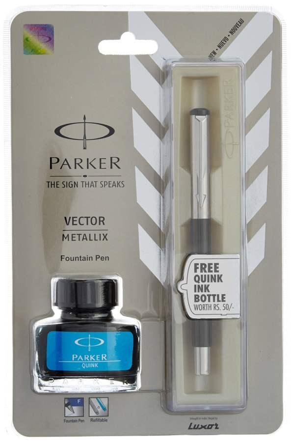 Buy Parker Vector Metallix Fountain Pen with Ink Bottle online New Zealand [ NZ ]